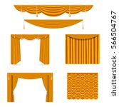 golden silk curtains and... | Shutterstock .eps vector #566504767