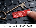 closed up finger on keyboard... | Shutterstock . vector #566513497