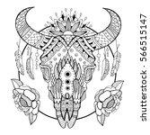 cow skull coloring book vector... | Shutterstock .eps vector #566515147