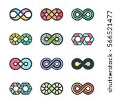 infinity vector symbols and... | Shutterstock .eps vector #566521477