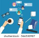 online reading announcements in ... | Shutterstock .eps vector #566530987