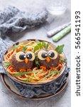 pasta spaghetti with funny... | Shutterstock . vector #566541193