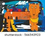 postmodern. tiger and fruit.... | Shutterstock .eps vector #566543923
