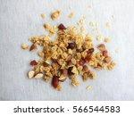 close up top view muesli ... | Shutterstock . vector #566544583