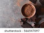 cocoa powder. chocolate bar... | Shutterstock . vector #566547097