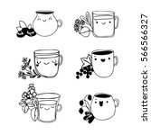 set cute cup of tea. | Shutterstock .eps vector #566566327