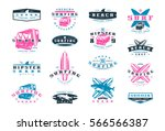 set of surfing emblems. graphic ... | Shutterstock .eps vector #566566387