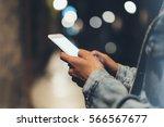 girl pointing on screen... | Shutterstock . vector #566567677
