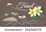 vector banner tourism  drawn... | Shutterstock .eps vector #566568193