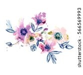 watercolor hand painted... | Shutterstock . vector #566569993