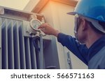 engineer or electrician... | Shutterstock . vector #566571163