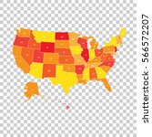 usa map with federal states.... | Shutterstock .eps vector #566572207