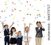group of kids party event... | Shutterstock . vector #566575717