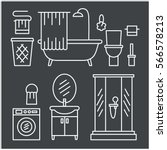 bathroom modern furniture icons.... | Shutterstock . vector #566578213