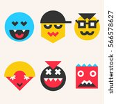 set of emoticons  smile face... | Shutterstock .eps vector #566578627