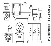 bathroom modern furniture icons.... | Shutterstock . vector #566583523