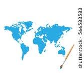 world map paint illustration... | Shutterstock .eps vector #566583583