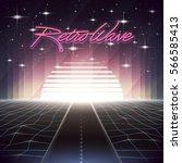80s retro sci fi background... | Shutterstock .eps vector #566585413