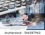 double exposure businessman... | Shutterstock . vector #566587963