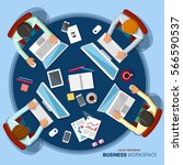 business meeting. flat design.... | Shutterstock .eps vector #566590537