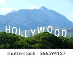 word hollywood on landscape... | Shutterstock . vector #566594137