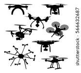 set of aerial black silhouette... | Shutterstock .eps vector #566632687