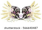 grunge double imaginary animal... | Shutterstock .eps vector #566640487