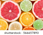 citrus fruits background. | Shutterstock . vector #566657893