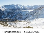 snowy slopes of rila in... | Shutterstock . vector #566680933