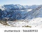 snowy slopes of rila in... | Shutterstock . vector #566680933