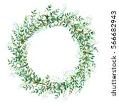 floral wreath.garland with lily ... | Shutterstock . vector #566682943