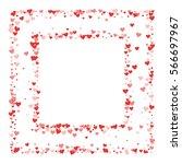 red hearts confetti. square... | Shutterstock .eps vector #566697967