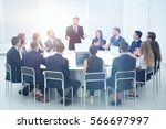 smiling head of the company... | Shutterstock . vector #566697997