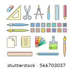 vector icons of art and office... | Shutterstock .eps vector #566703037
