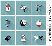 set of flat icons for... | Shutterstock .eps vector #566703937