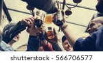 hands hold beverage beers... | Shutterstock . vector #566706577
