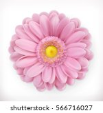 Stock vector spring pink flower d vector icon 566716027