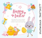 happy easter card. illustration ... | Shutterstock .eps vector #566716177