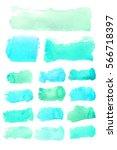set watercolor ink blobs ... | Shutterstock . vector #566718397