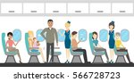 airplane economy class interior.... | Shutterstock .eps vector #566728723