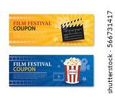 film festival banner and coupon.... | Shutterstock .eps vector #566731417