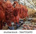 cooked chicken and duck for... | Shutterstock . vector #566731693