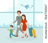 family in airport with luggage... | Shutterstock .eps vector #566733067