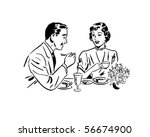 couple dining   retro clip art | Shutterstock .eps vector #56674900