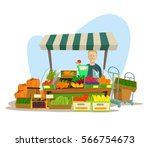 fruits and vegetables seller... | Shutterstock .eps vector #566754673