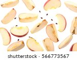 slices of fresh red apple and... | Shutterstock . vector #566773567