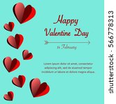 happy valentines day on green... | Shutterstock .eps vector #566778313