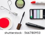 cosmetics make up top view | Shutterstock . vector #566780953