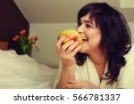 portrait of happy mature woman... | Shutterstock . vector #566781337
