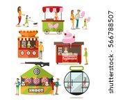 vector set of amusement park... | Shutterstock .eps vector #566788507